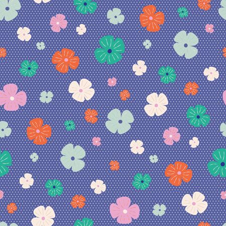 Bright flowers on blue and white polka dot background seamless repeat vector pattern. Great for paper products and stationery such as invitations, notebooks and party items. Would be great for gift and home ware products such as bedding as well as childrens clothing. Surface pattern design.