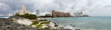 Panoramic of Cancun Mexico on an overcast day