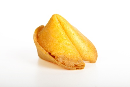 Chinese fortune cookie. Shot on white background