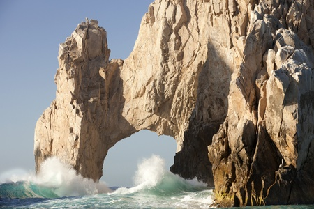 rock formation: The famous Los Arcos at Lands end in Cabo San Lucas, Mexico with crashing waves Stock Photo