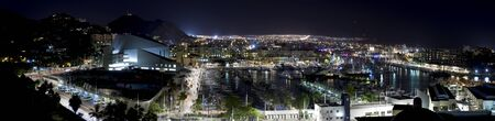 lucas: Panoramic view of Cabo San Lucas, Mexico at night.  5 pictures were used to make this Panoramic image Stock Photo