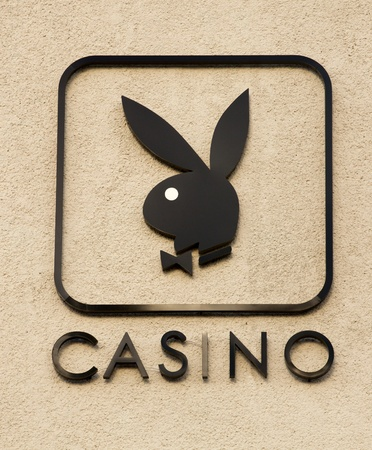 Cancun, Mexico - December 14, 2011: Playboy Casino Sign on the outside of a building in Cancun, Mexico Editorial