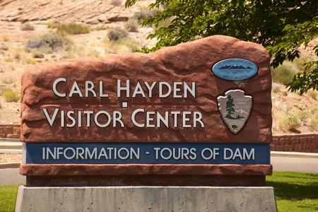 carl: Page Arizona - Sign at the Carl Hatden visitor center at Glen Canyon Dam. Editorial