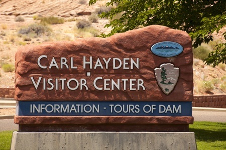 Page Arizona - Sign at the Carl Hatden visitor center at Glen Canyon Dam. Editorial
