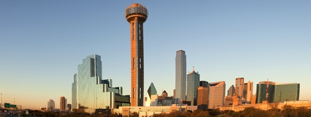 Dallas, Texas, USA - November 30, 2011: Downtown Dallas, Texas (panoramic) taken just before sunset. 5 pictures were photomerged for this panoramic. From left to right the picture shows: Stemmons Freeway (I-35 E), Hyatt Regency Dallas Hotel, Reunion Tower