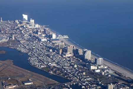 atlantic city: Atlantic City, New Jersey, USA - January 25, 2012: Aerial View of Atlantic City New Jersey showing the casino strip along the world famous boardwalk., the closed Bader Field, also known as Atlantic City Municipal Airport and Bernie Robbins Stadium,  Editorial