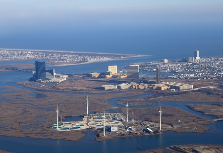 Atlantic City, New Jersey, USA - January 25, 2012: Aerial View of Atlantic City New Jersey showing the casino strip along the inlet and the the wind turbines and water treatment  at the Atlantic City Municipal Authority