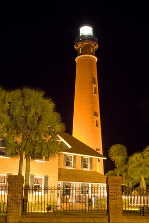 Ponce Inlet Lighthouse in Florida at Night