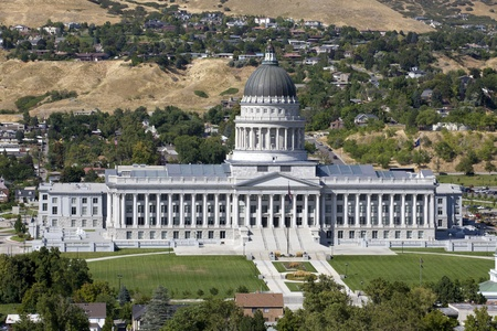 the statesman: Aerial view Utah State Capitol during the day in Salt Lack City Stock Photo