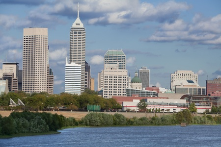 indianapolis: Downtown Indionapolis, Indiana during the day, taken from the White river Stock Photo