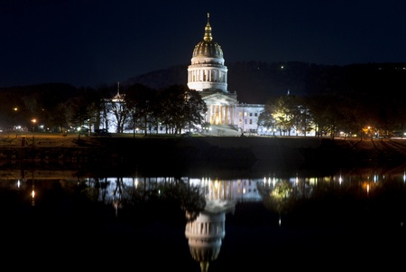 capitals: Capital of West Virginia in Charleston on the Kanawha River at night
