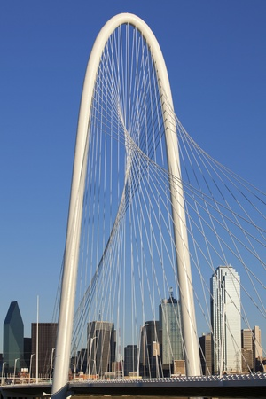 Architectural detail of the top of the new  Margaret Hunt Hill Bridge that crosses the Trinity River in Dallas, Texas  The bridge uses a unique  design of a  400-foot steel arch and cables to support  the bridge  The bridge open in March 2012