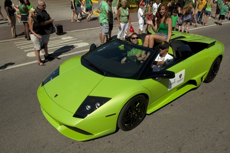st patty day: Green Lamborghini in Saint Patricks  Day Parade in Delray Beach, Florida
