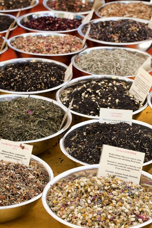 Different types of herbal tea for sale photo