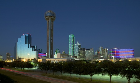 Dallas Texas just before sunset Редакционное