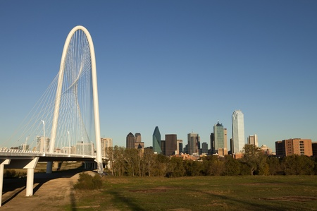 The new  Margaret Hunt Hill Bridge that crosses the Trinity River in Dallas, Texas  The bridge uses a unique  design of a  400-foot steel arch and cables to support  the bridge  The bridge opened March 2012   Stock Photo