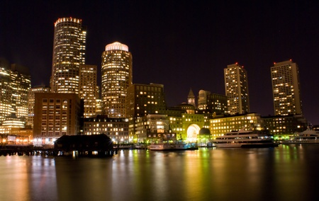 refelction: Downtown Boston skyline at night refelction in the water  Stock Photo