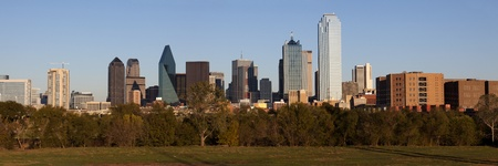 Panoramic view of the business district skyline of Dallas Texas in the early evening