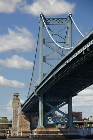 Ben Franklin Bridge that connects Philadelphia, Pennsylvania to Camden, New Jersey Stock Photo - 13157247