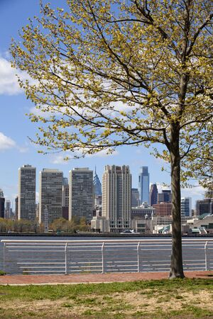 Philadelphia skyline from the Delaware river in the early spring  Stock Photo