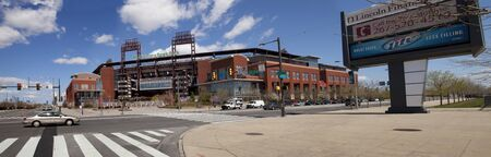 Panoramic view of the Stadium were the Philadelphia Phillies call home, Citizens Bank Park, baseball park in located in the sport complex in south Philadelphia  Downtown Philadelphia is in the background