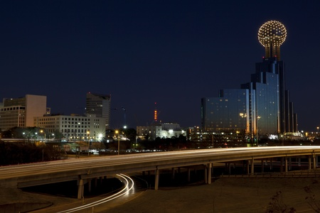 People commuting to downtown Dallas Texas at Night