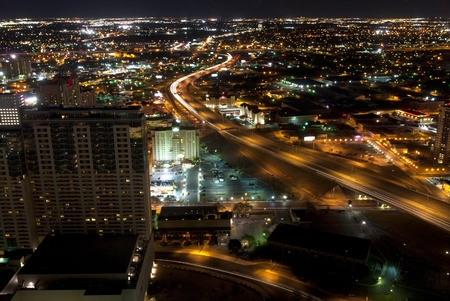 Aeriel view of San Antonio Texas looking north at Interstate 35  I35  freeway at Night Stock Photo - 13158736