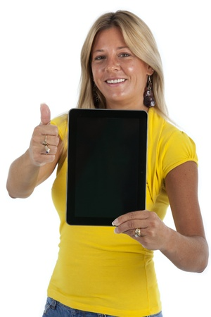 blank tablet: Casual dressed woman, giving a thumbs up and holding a blank electronic tablet  Shot on a white background
