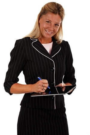 Woman  teacher or businesswoman , using a stylist on a blank electronic tablet  Shot on a white background  photo