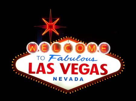 Classic Welcome to Fabulous Las Vegas, Nevada sign - night