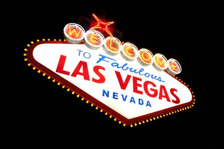 Classic Welcome to Fabulous Las Vegas, Nevada sign - night Stock Photo - 17055556