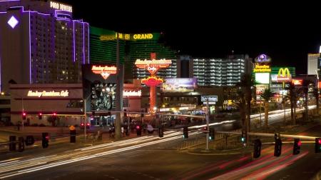 Aerial view of the Las Vegas nightlife, looking down at the casinos on Las Vegas Blvd