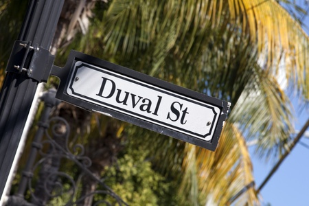 Duval Street  street sign  in Key West Florida with palm tree in background