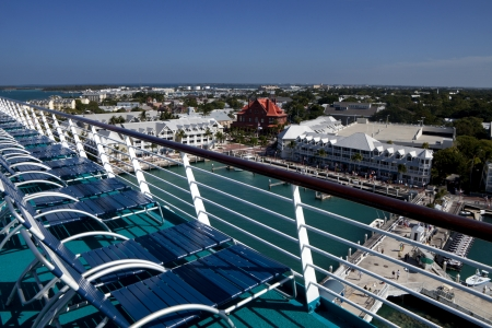 Deck chairs overlooking Key West, Florida photo