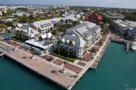 Birds eye view of the waterfront district in Key West, Florida photo