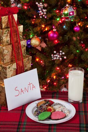 Cookies and milk for Santa with Christmas tree in background photo