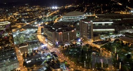 Aerial view of Atlanta Georgia overlooking Centennial Olympic Park area at night  Picture shows the Georga Dome, CNN Center, Omni Hotel, Georgia World Congress Center, and the Centennial Olympic Park area Editorial