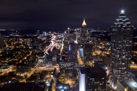 Aerial view of Atlanta Georgia at night  Long exposure photo