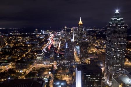 Aerial view of Atlanta Georgia at night  Long exposure