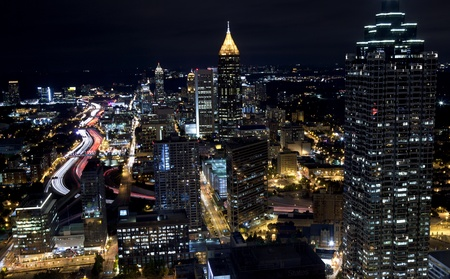 Aerial view of Atlanta Georgia at night  Long exposure
