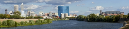 Panoramic view of downtown Indianapolis, Indiana skyline from the White River
