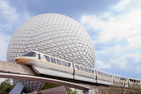 rapid steel: Marck VI monorail and Spaceship Earth at Walt Disney World  Epcot resort Editorial
