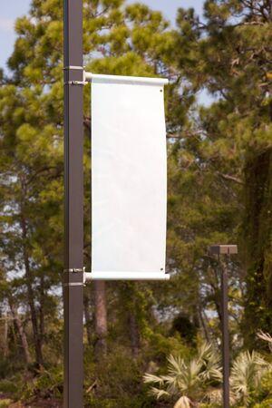 Blank white streetlight banner Stock Photo
