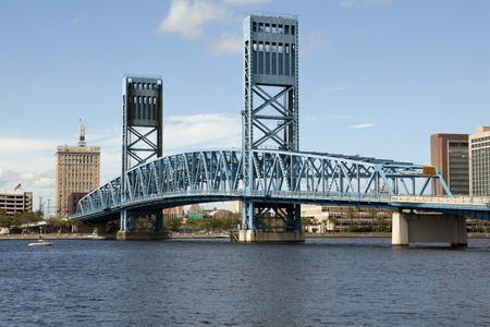 Lift Bridge over the St John River in downtown Jacksonville, Florida Stock Photo