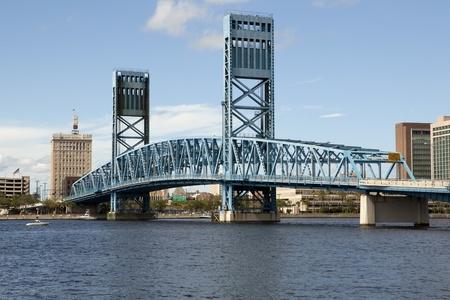 Lift Bridge over the St John River in downtown Jacksonville, Florida Stock Photo