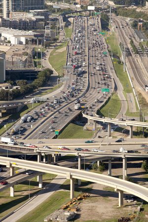 congested: Aerial view of freeways in downtown Dallas Texas  Looking north on I-35E Stock Photo