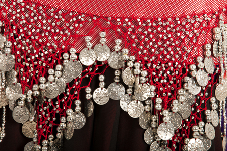 bellydancing: Closeup of the skirt of a bellydancing costume Stock Photo