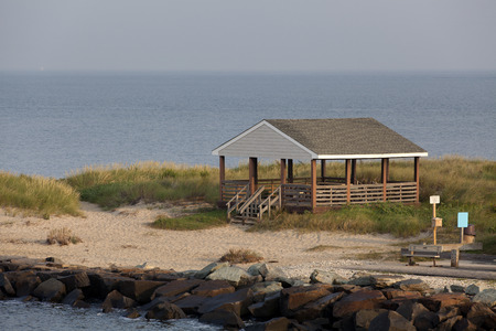 inlet bay: Beach hut overlooking the Delaware Bay on the canal inlet near Cape May, New Jersey Stock Photo