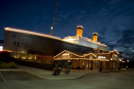 forge: The Titanic Museum is a unique landmark and major tourist attraction in Pigeon Forge, Tennessee  The facade of the building resembles the world�s most famous luxury liner, RMS Titanic  Editorial