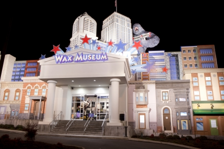 The Hollywood Wax Museum is a unique landmark and major tourist attraction in Pigeon Forge, Tennessee  The fasade of the building has the New York skyline with King Kong holding a biplane  shown